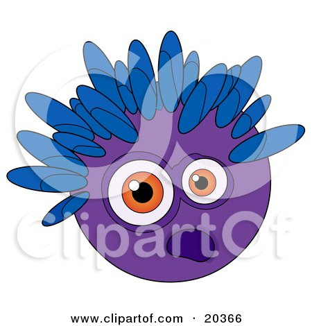 Clipart Illustration of a Scared Purple Alien Or Monster Face With Blue Spikes On The Head And Big Orange Eyes by Tonis Pan