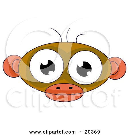 Clipart Illustration of a Cute Alien Face Resembling A Monkey, With Big Eyes, Ears And Three Hairs On Top Of Its Head by Tonis Pan