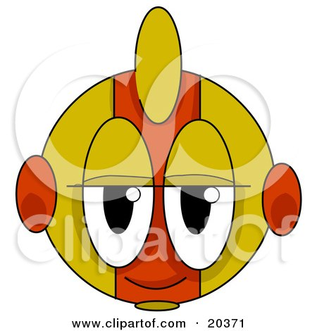 Clipart Illustration of a Bored Alien Face With Yellow And Orange Stripes by Tonis Pan