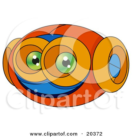 Clipart Illustration of a Robotic Alien Face With Green Eyes And Large Orange Ears by Tonis Pan
