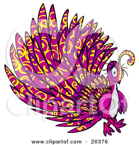 Psychadelic Purple Peacock With Yellow Swirl Patterns Posters, Art Prints