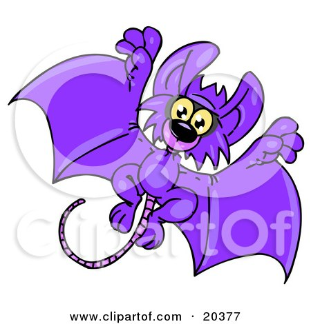 Adorable Purple Flying Bat With A Long Rat's Tail, Looking At The Viewer While Flying Past Posters, Art Prints