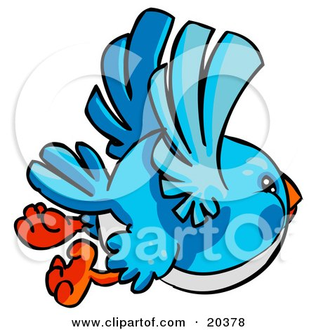 Clipart Illustration of a Chubby Bluebird With A White Belly, Flying Through The Sky by Tonis Pan