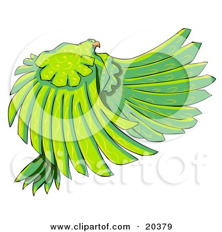 Large Majestic Bird With Long Green Feathers And Yellow Swirl Patterns Posters, Art Prints