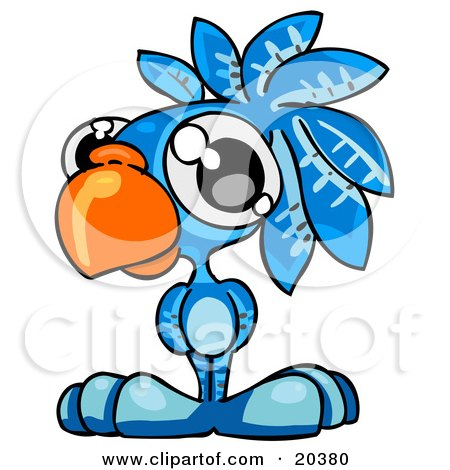 Clipart Illustration of a Cute Big Eyed Blue Parrot With A Big Orange Beak by Tonis Pan