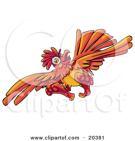 Clipart Illustration of a Looney Orange Rooster Flying With His Feet Sticking Outwards by Tonis Pan