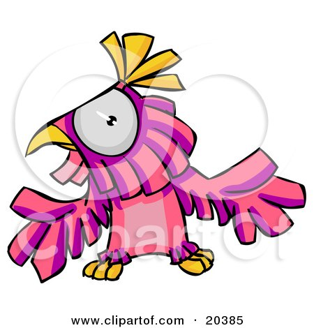 Clipart Illustration of a Confused Pink And Purple Parrot Holding His Wings Out by Tonis Pan
