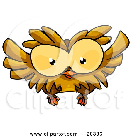 Clipart Illustration of a Cute, Big Eyed, Brown Owl Flying by Tonis Pan
