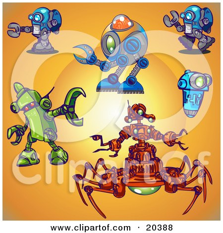 Clipart Illustration of a Collection Of Blue, Green And Red Robots Over An Orange Background With A Bright Center by Tonis Pan