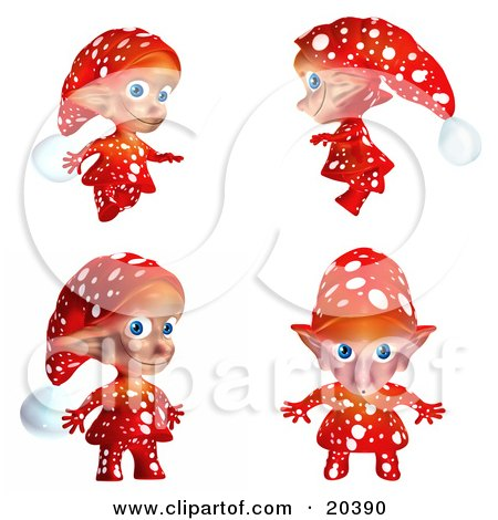Clipart Illustration of a Cute Christmas Elf In Red Clothes With White Polka Dots, In Four Different Poses by Tonis Pan