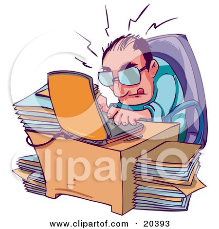 Stressed And Overwhelmed Businessman Typing Away On His Laptop At His Desk, Surrounded By Stacks Of Files Posters, Art Prints