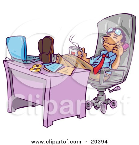 Relaxed Businessman Leaning Back In His Chair With His Feet Up By His Laptop Computer On His Desk, Holding A Cup Of Hot Coffee And Chatting On The Phone Posters, Art Prints