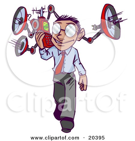 Clipart Illustration of a Busy Businessman Walking On A Sidewalk And Answering A Call With A Weird Robotic Phone With Satellites by Tonis Pan