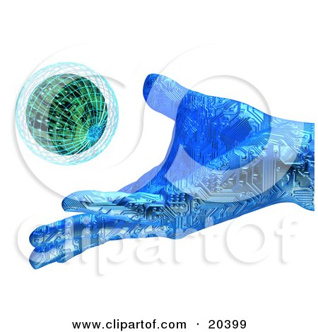 Clipart Illustration Of A Blue Hand With Circuits, Releasing A Small Planet Into The Atmosphere, Symbolizing Creation And Environment by Tonis Pan
