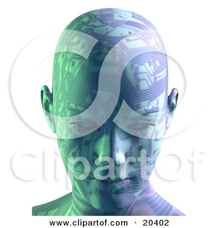 Clipart Illustration Of A Robot's Head With Circuit Board Patterns, Facing Front, Symbolizing Advances In Technology And Intelligence by Tonis Pan