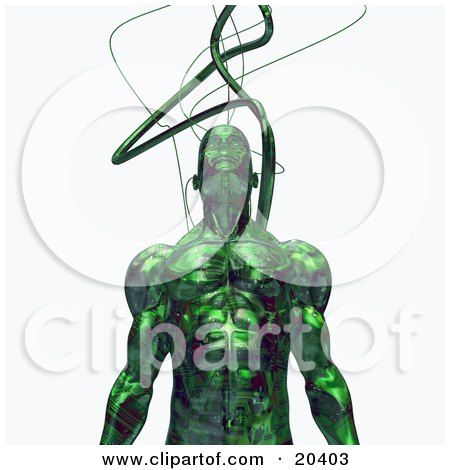 Strong Male Robot With Cables Connected To His Head, Standing Against A White Background Posters, Art Prints