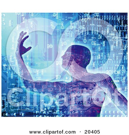 Clipart Illustration Of A Strong Digital Man In Front Of A Motherboard Computer Background, The Personification Of Computing Power by Tonis Pan