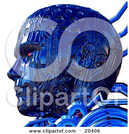 Of A Tough Blue Robot's Head With Circuit Patterns And Red Eyes, Facing To The Left, In Profile Over White Posters, Art Prints