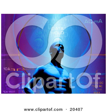 Clipart Illustration Of A Strong Digital Blue Man In Front Of A Data Background, Personifcation Of RAM by Tonis Pan