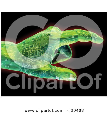 Clipart Illustration Of A Green Circuit Robotic Hand Pointing To The Right, Over A Black Background by Tonis Pan