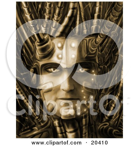 Cyborg Robotic Face With Bold Eyes And Cables Springing From The Head Posters, Art Prints