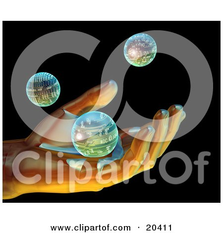 Clipart Illustration Of A Digital Human Hand Gently Holding A Circuit Sphere  With Two Other Technology Orbs Against The Black Background by Tonis Pan