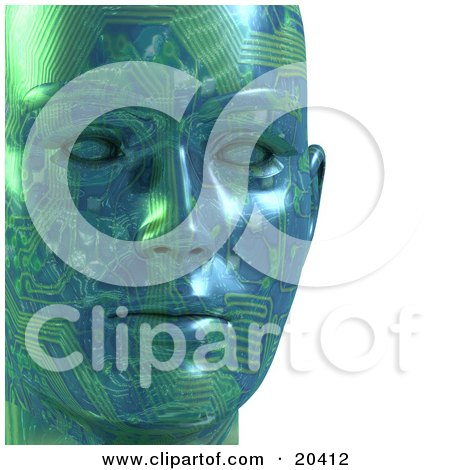 Closeup Of A Green Motherboard Robot Face With Circuits And Blank Eyes Posters, Art Prints