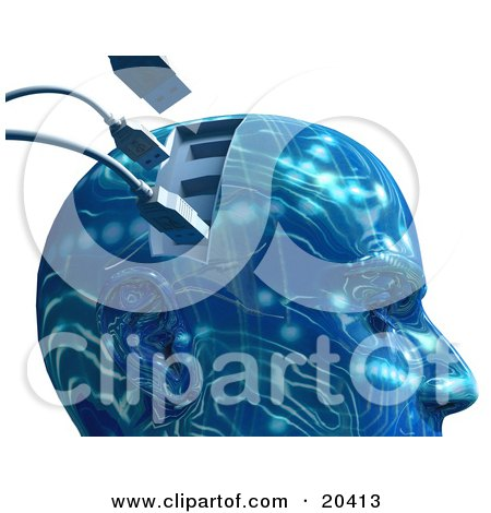 Blue Robotic Head With Rippled Circuit Patterns And Usb Cables Plugging Into The Brain, Symbolizing Artifical Intelligence And Memory Posters, Art Prints