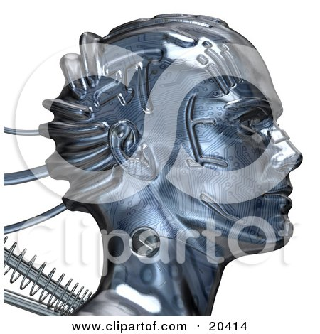 Clipart Illustration Of A Chrome Robot Head With A Circuit Pattern And Springs, Facing To The Right, Over A White Background by Tonis Pan