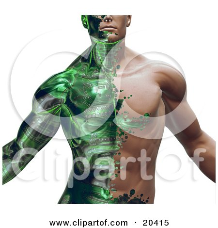 Clipart Illustration Of A Part Man Part Robot Muscular Guy With Green Circuits Covering His Skin