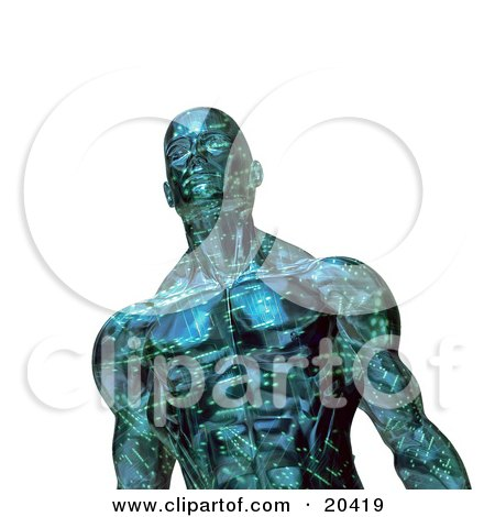 Clipart Illustration Of A Strong And Muscular Robotic Man With Circuits, Looking Upwards, Over A White Background by Tonis Pan
