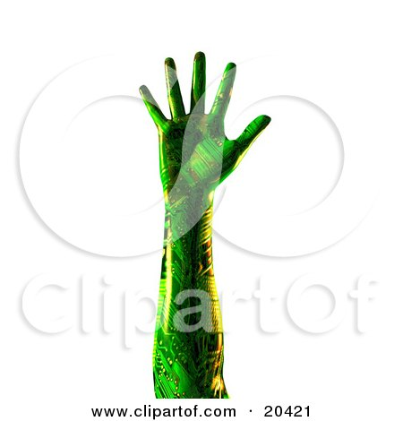 Clipart Illustration Of A Green Humanlike Cyborg Hand With Circuits, Stretched Out, Fingers Extended, Over A White Background by Tonis Pan