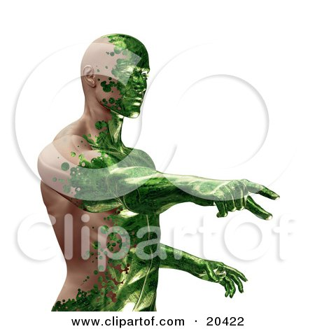 Clipart Illustration Of A Half Man, Half Robot With Green Circuit Skin Covering His Human Skin, Pointing, Over A White Background by Tonis Pan