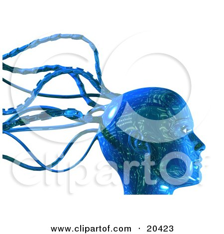 Digital Blue Robot Head With Circuit Board Patterns And Cable Tentacles Over A White Background Posters, Art Prints