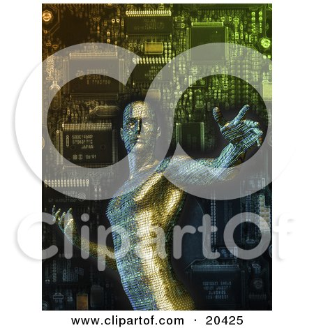 Robotic Circuit Board Man In Front Of A Computer Processor Posters, Art Prints
