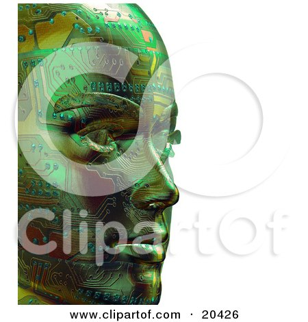 Clipart Illustration Of A Green Robot's Face With Circuits, Facing To The Right, Over A White Background by Tonis Pan