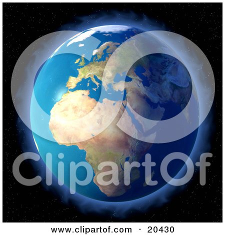 Clipart Illustration Of Planet Earth Surrounded By A Glowing Halo Of Light, Or Aura, Against The Spotted Starry Background Of Space by Tonis Pan