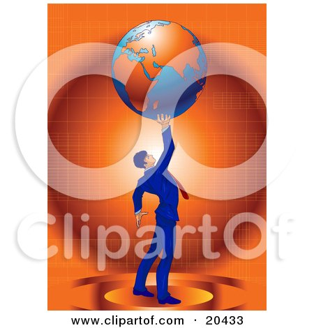 Clipart Illustration Of A Businessman In A Blue Suit And Red Tie, Standing Against An Orange Background And Holding The Planet Earth High Above His Head, Symbolizing Success by Tonis Pan