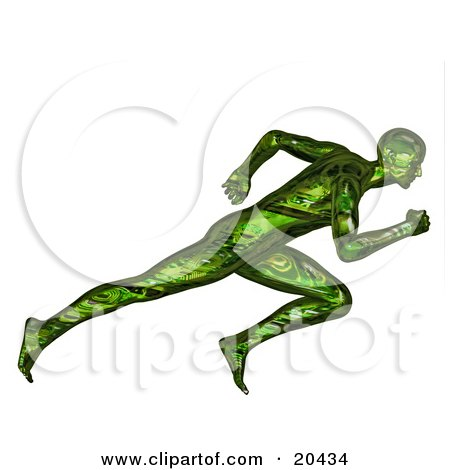Clipart Illustration of a Racing Green 3d Man Sprinting During A Race, Over A White Background by Tonis Pan