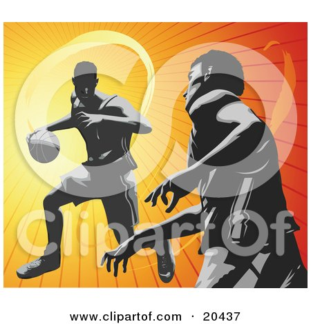 Clipart Illustration of Basketball Opponents During A Game, One Player Dribbling The Ball, The Other Player Guarding by Tonis Pan