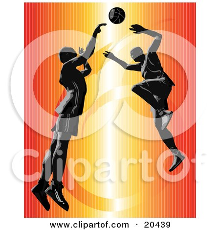 Clipart Illustration of an Opponent Leaping To Block A Shot Of A Competitor During A Basketball Game by Tonis Pan