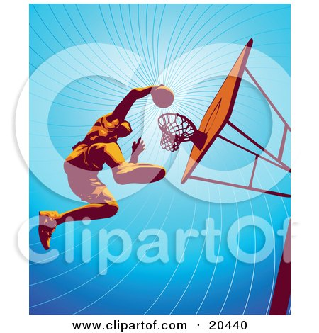 Basketball Player Jumping High To Dunk The Ball In The Hoop During Practice Posters, Art Prints