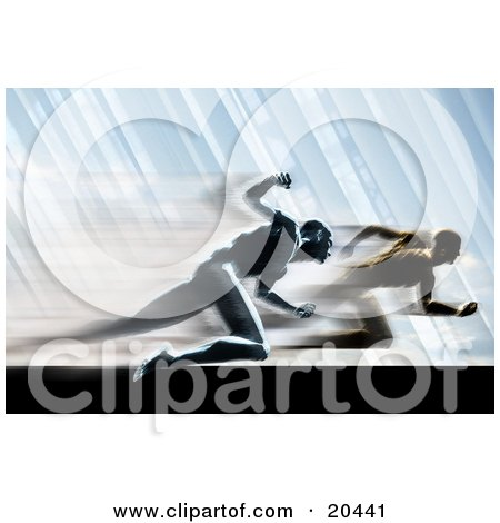 Race Between Two Competitive Rival Men Sprinting In A Blur On A Track Posters, Art Prints