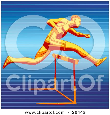 Clipart Illustration of a Fast Racer Sprinting And Leaping Over A Hurdle On A Track, Symbolizing Speed And Endurance by Tonis Pan