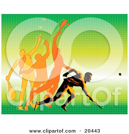 Clipart Illustration of a Man In Motion Showing The Different Movements To Hit A Tennis Ball During A Match by Tonis Pan