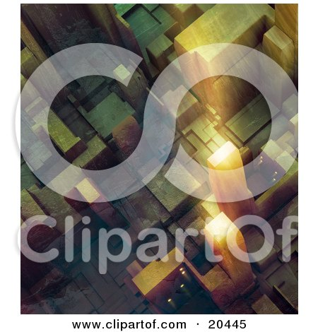 Clipart Illustration Of An Aerial View Of Light Reflecting Off Of A Tall Skyscraper In A City