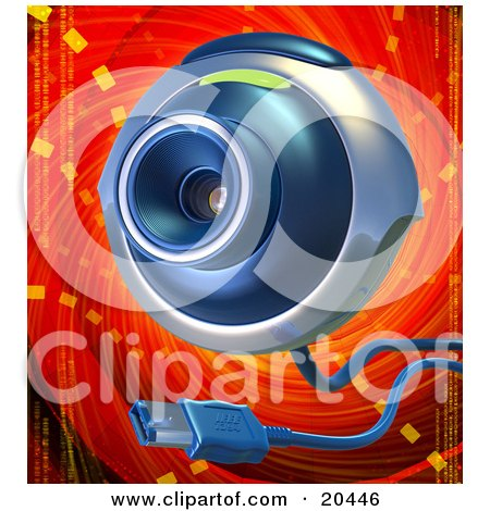 Clipart Illustration of a Blue And Gray Web Camera With A USB Cable, Over A Red And Orange Background by Tonis Pan