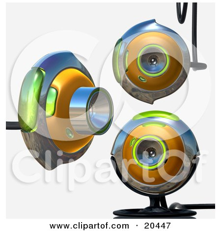 Clipart Illustration of Three Green And Chrome Web Cams, One Viewing To The Right, The Other Two Facing Front, Over A White Background by Tonis Pan