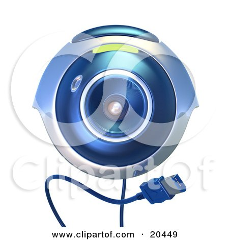 Clipart Illustration of an Isolated Blue Computer Webcam With A Usb Cable, Facing Front, Over A White Background by Tonis Pan