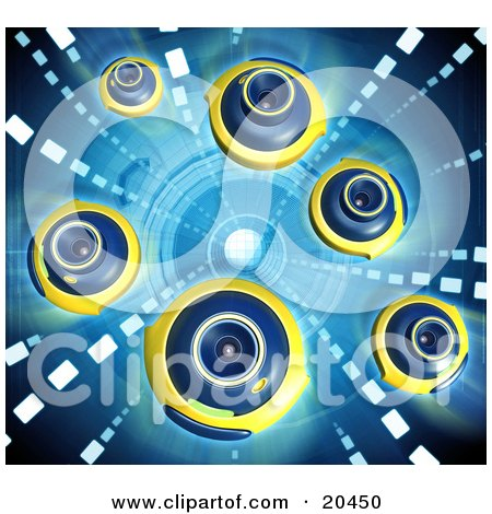 Clipart Illustration of a Group Of Blue And Yellow Web Cameras Facing Different Directions, Over A Blue Background by Tonis Pan